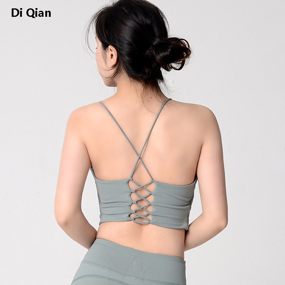 Icyzone Women Activewear Yoga Clothes Strappy Crisscross: DIQIAN Sexy Cross Back Sports Bra For Women Cut Out Padded