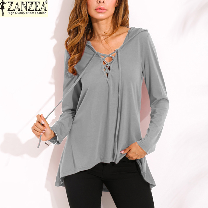 ZANZEA Women Hooded   Blouses     Shirts   2019 Spring Autumn Casual Loose Long Sleeve Solid Pullovers Tops Blusas Femininas Plus Size