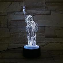 Statue of Liberty Night Lamp 3D Illusion 7 Color Changing Decorative Light Child Kids Girl Gift Desk LED Night Light Bedside