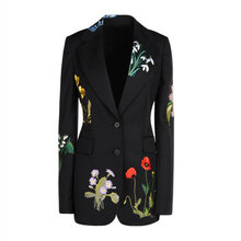 high quality 2016 new autumn floral leaf embroidery contrast color single breasted black suit slim long coats women