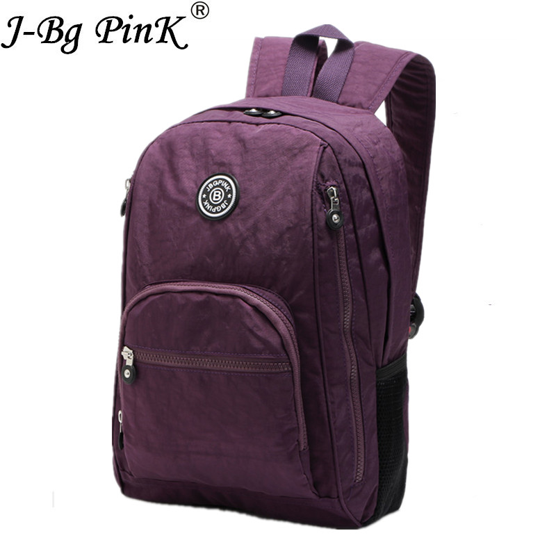 J-BG PinK 2017 Women Backpack for Teenage Girls Nylon Backpacks Mochila Feminina Female Travel Bagpack Schoolbag women Bag new women leather backpack black bolsas mochila feminina girl schoolbag travel bag solid candy color green pink beige