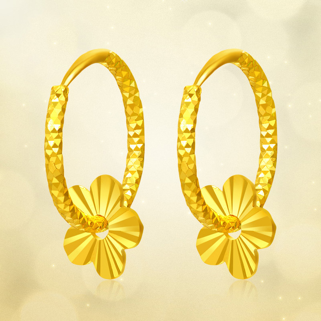 ZZZ 24k Pure Gold Hoop Earrings Flaky Plum Sweet Elegant And Fashion Women Classic Girl Gift 2020 New Hot Selling Real Solid