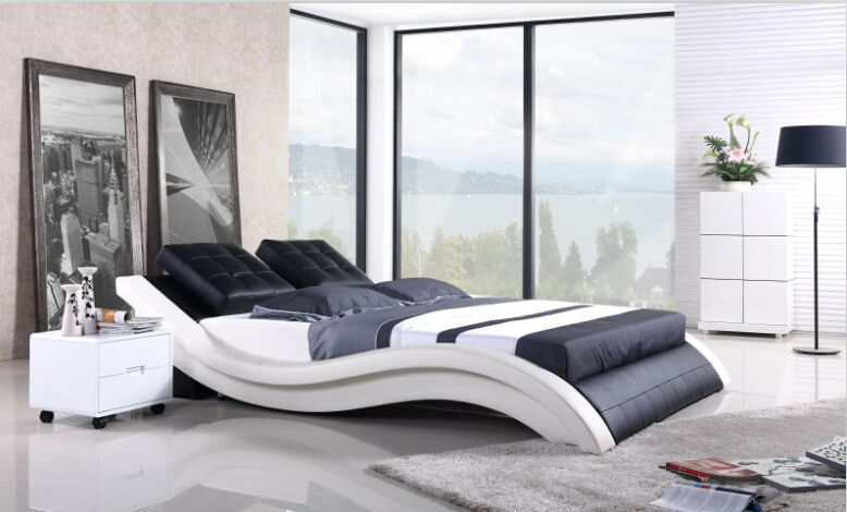 €571.92 |Meubles de chambre à coucher modernes lit en cuir véritable  meubles de lit king avec table de nuit-in Lits from Meubles on AliExpress