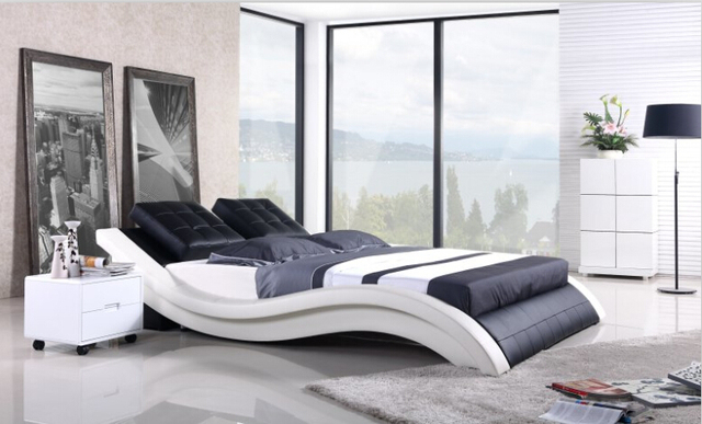Modern Bedroom Furniture Genuine Leather Bed King With Night Stand