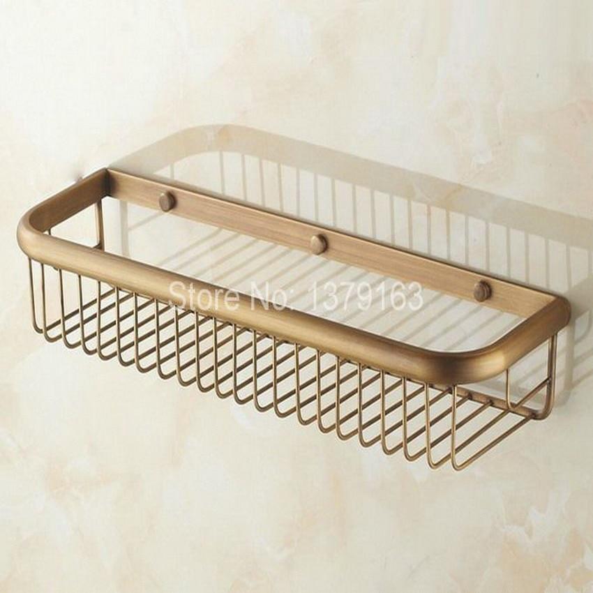 Antique Brass Wall Mounted Bathroom Accessory Soap / Sponge Shower Storage Basket aba031