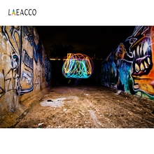 Laeacco Retro Abandoned Graffiti Interior Children Street Portrait Photography Background Photographic Backdrop For Photo Studio