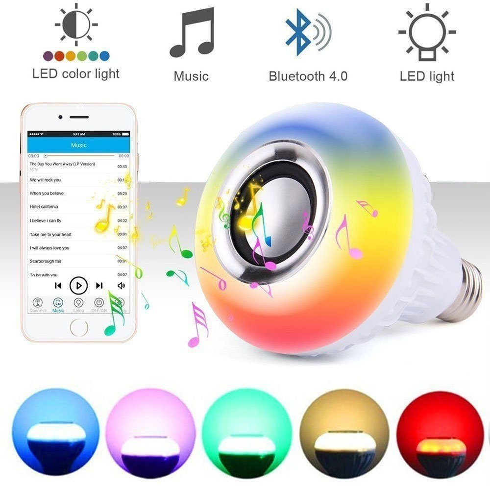 Henynet Wireless L2 Bluetooth LED Stereo Audio Speaker RGB Color Bulb Music Player for Stage, Home, Bedroom, Party,Decoration,Ba