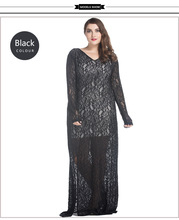 Spring Summer Sexy Hollow Out black Lace muslim women abaya casual abaya Maxi Long Elegant abaya(China)