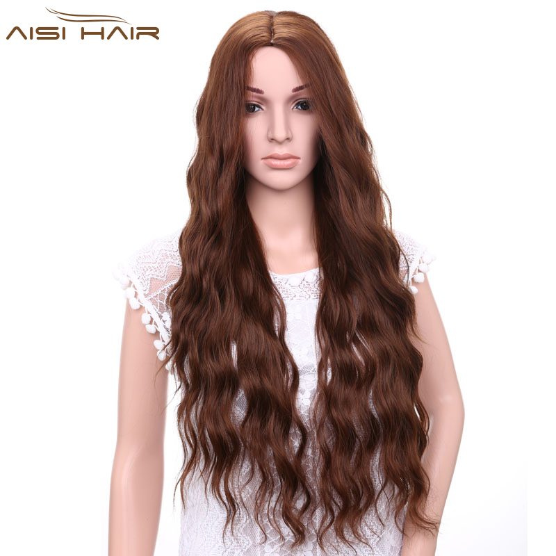 I s a wig Synthetic Brown Blonde Red Black Heat Resistant Hair Water Wave Wigs for