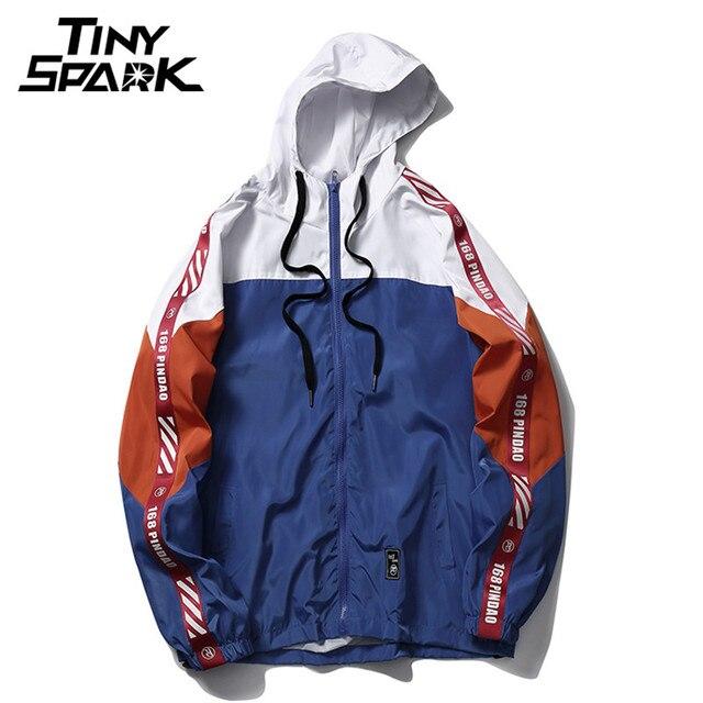 8220ad787 2018 Autumn Windbreaker Jacket Hip Hop Men Hoodie Jacket Patchwork Full Zip  Pullover Tracksuit Jackets Fashion