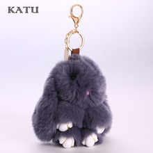Bunny Keychain Fashion Rabbit Fur Pompoms Handbag Bunny Keychain Key Holder Ring Cute Key Chain for Girl Gift