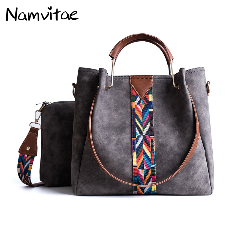 Namvitae 2pcs/Set Women Tote Bag Pu Leather Composite Bag Luxury Brand Women Bucket Handbag Fashion Colorful Strap Shoulder Bags luxury genuine leather bag fashion brand designer women handbag cowhide leather shoulder composite bag casual totes
