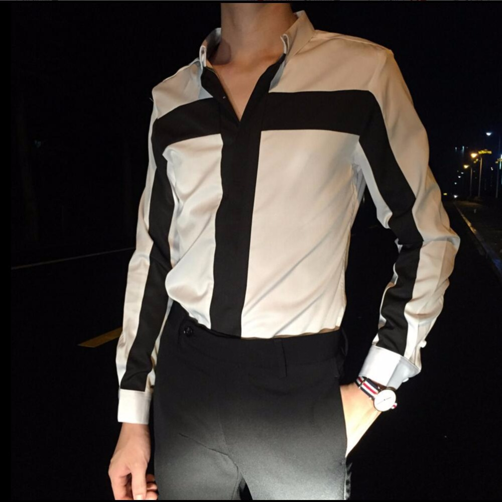 Men Hit color Cross Striped Long Sleeve Shirt Black And White Striped Shirt Nightclub Hairstylist Workwear Male Singer Costumes