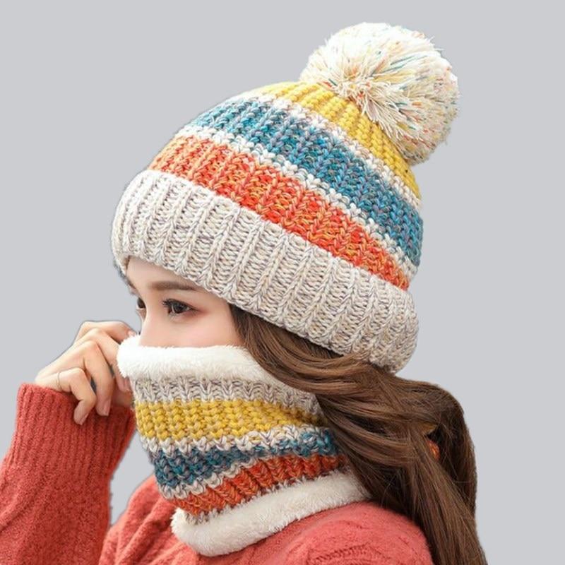 2018 Hot Neck Scarf Warm Winter Hat Women Caps Girl Ski Hat   Skullies     Beanies   Pom Hats Balaclava Knitted Hat