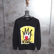 De Lujo para hombre de marca de diseñador suéter nuevo estilo corona rey hombres  suéter Casual Simple jerséis de punto de calida. 1434787c995d