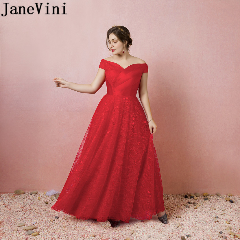 JaneVini Nedime Elegant Dress Women For Wedding Party Red Lace Floor Length Bridesmaid Dresses Plus Size Long Women Formal Dress