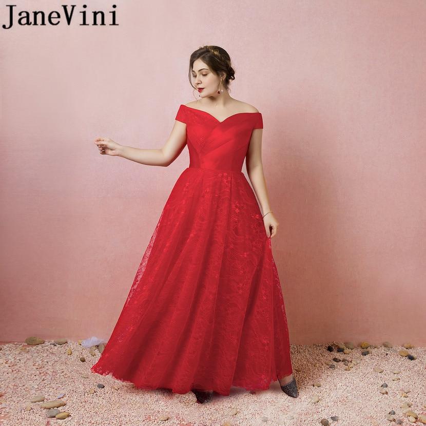 JaneVini Nedime Elegant Dress Women For Wedding Party Red Lace Floor Length Bridesmaid Dresses Plus Size Long Women Formal Dress