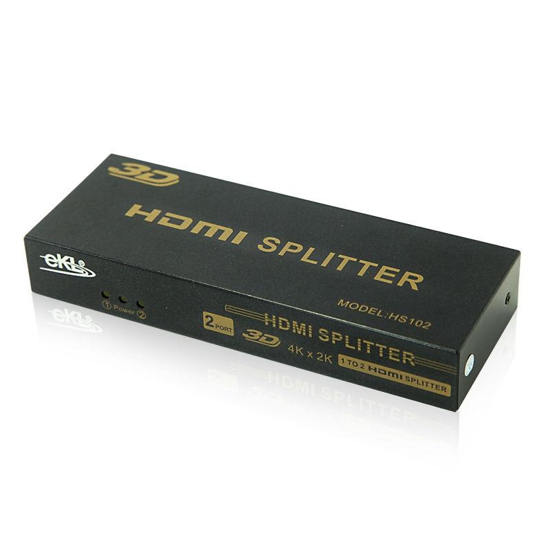 EKL 2 Port HDMI Splitter 1x2 V 1.4 Certified for Full Ultra HD  4Kx2K Video 1.3 HDCP 3D 1080p ekl hdmi splitter 4 port amplifier repeater full hd 4k 2k hdmi1 in 4 out hdcp 3d 1080p