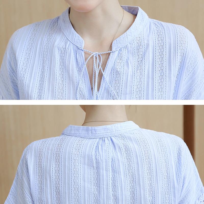 Cielo Corta Manga Camisas Sky Tops pink Encaje De Casual Blusas 100 Algodón Mujeres Verano Camisa Azul 2019 white Blue Sólido Ropa qIpnawtZx