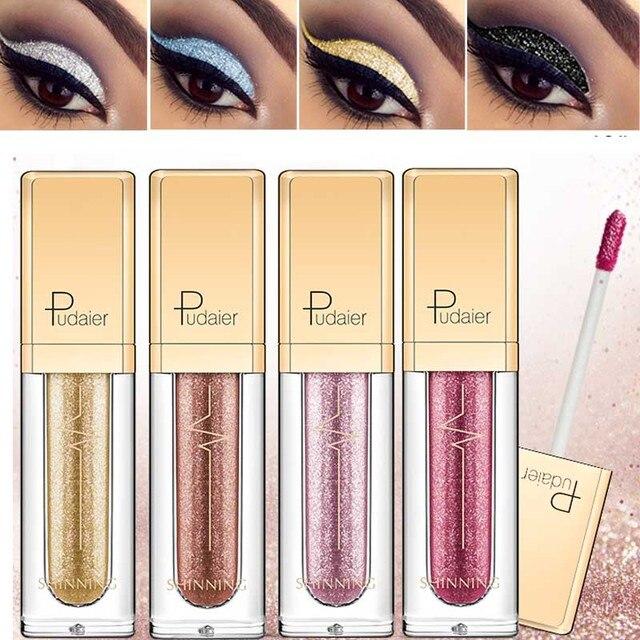 Nuevo maquillaje líquido sombra de ojos impermeable brillo pigmentos púrpura oro metalico mujeres belleza Gel sombra de ojos crema 18 colores maquillaje