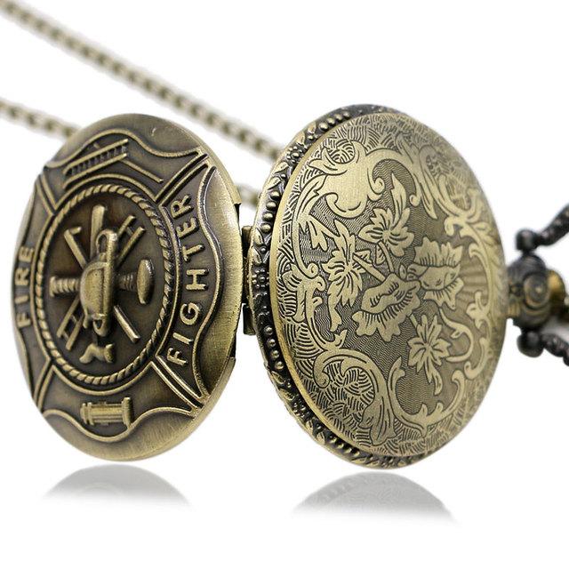 Bronze Fire Fighter Control Quartz Pocket Watch Necklace Pendant Mens Gift Relogio De Bolso