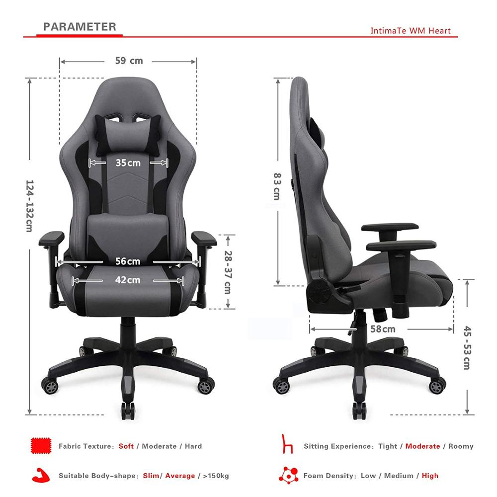 Executive Chair Fabric Gaming Computer Chair Breathable Racing Office Chair Ergonomic Swivel High Back Recliner Chair DE