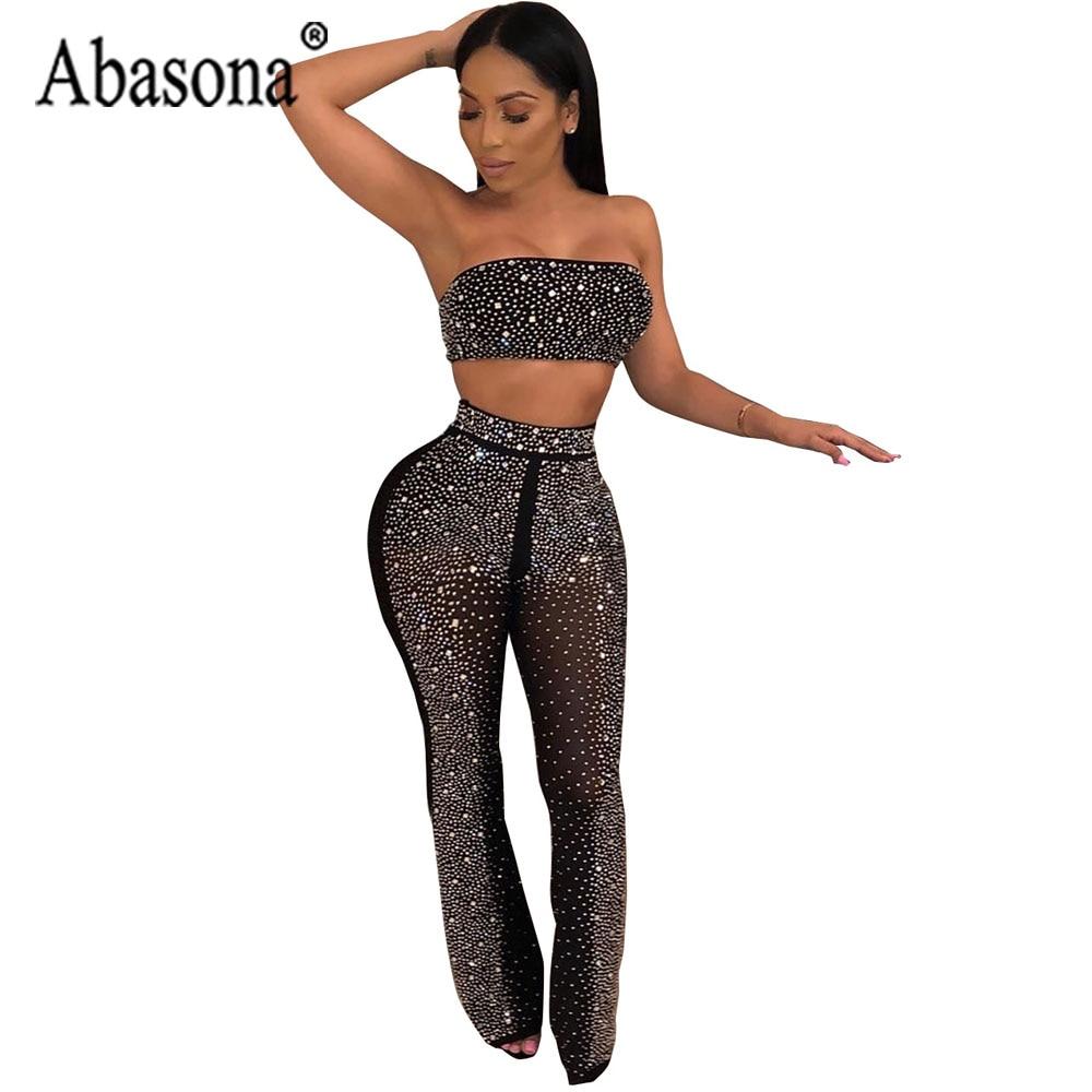 75681236f720 Abasona Black Sexy See Through Diamond Long Jumpsuit Women Club Wear 2 Piece  Set Strapless Jumpsuit