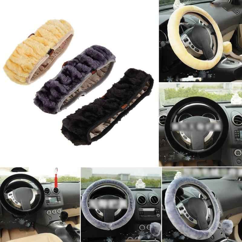 غطاء عجلة القيادة سيارة الملمس لينة السيارات الدافئة بلوش جديلة على عجلة القيادة الداخلية الملحقات