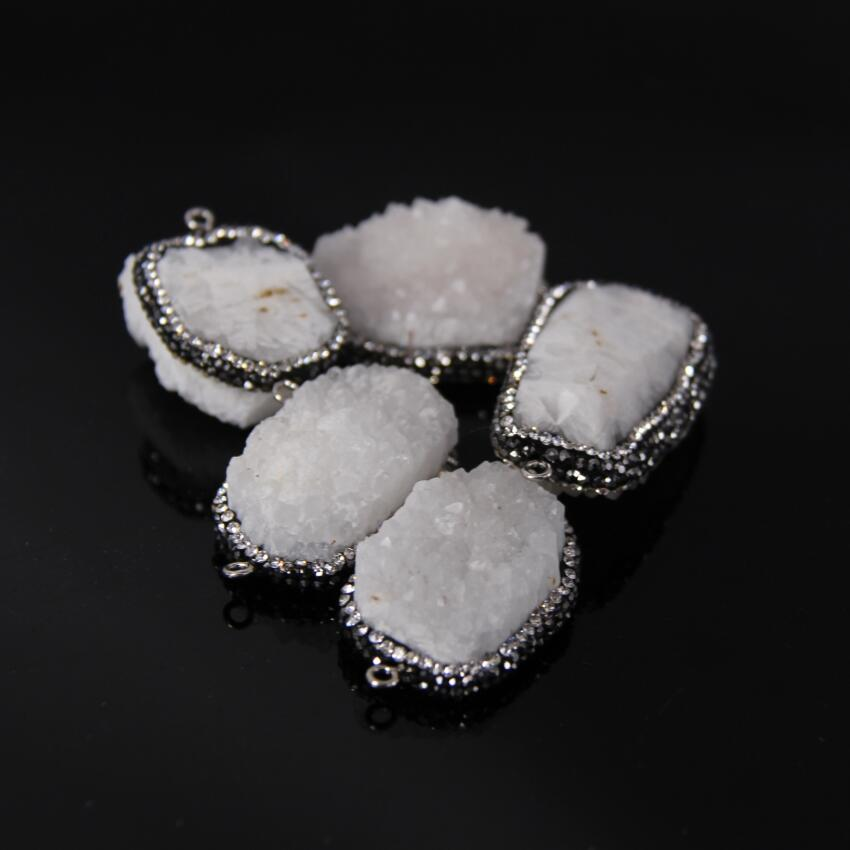 5pcs/lot,Natural Crystal Geode slab Nugget Connectors,Rhinestones Edge Raw White Quartz Geode Freeform Pendant Necklaces crafts