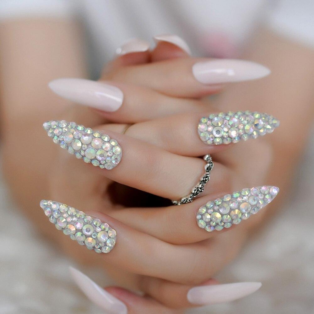 Роскошные поддельные ногти дизайнерские удлиненные Омбре французские украшения предварительно разработанные ногти натуральные шпильки AB Украшение камнями Типсы - Цвет: L5012