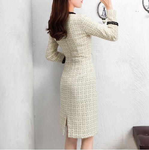 2019 New Tweed Dress Women Spring Vintage Wool Plaid Dresses Female Elegant Woolen Dress Ladies Office Vestidos 25