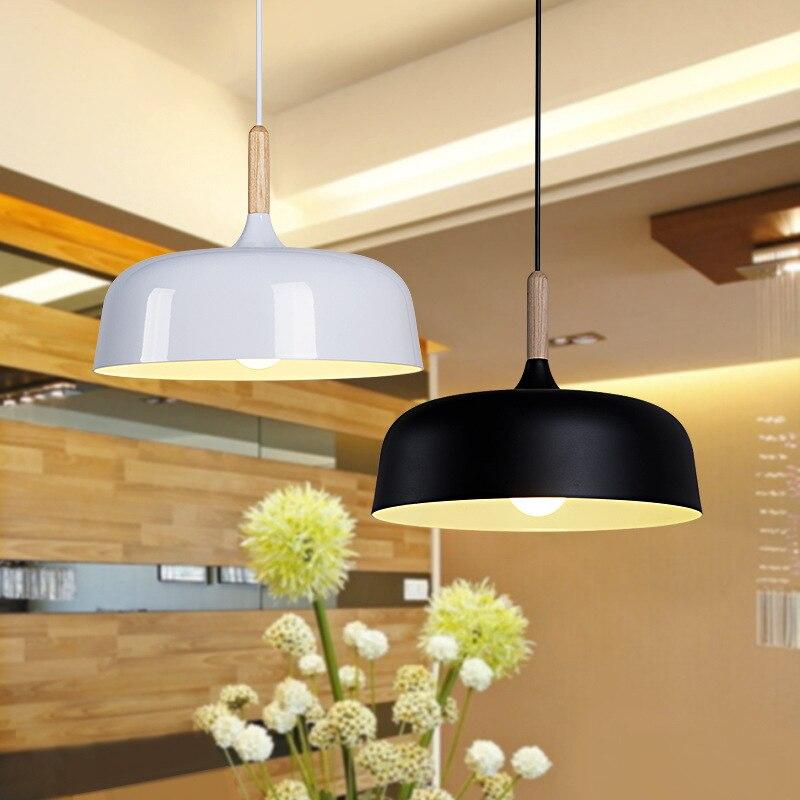 Modern Pendant Light Wood Aluminum Lamp E27 Socket Loft Style Hanging Light Black/White Lampshade 320mm WPL149