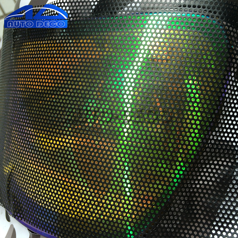 Fly Eye Perforated Tint Mesh Film Black One Way Vision Car Scooter Motorcycle Headlight Rear Light Decal Sticker 107cmx50cm 5sheets pack 10cm x 5cm holographic adhesive film fly tying laser rainbow materials sticker film flash tape for fly lure fishing