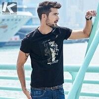 KUEGOU 2017 Summer Mens Fashion T Shirts Print Patchwork Yarn Brand Clothing Man S Short Sleeve