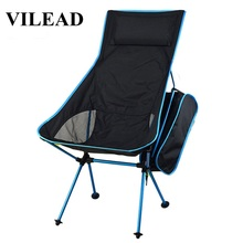 VILEAD 4 Colors Portable Lengthened Camping Chair Aluminum Folding Ultralight Picnic Fishing Outdoor Foldable Stool 53*35*67 cm