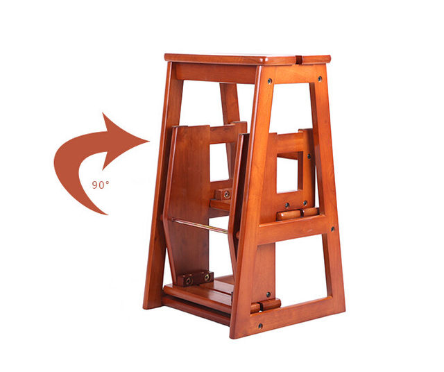 Modern Multi Functional Three Step Library Ladder Chair Library Furniture  Folding Wooden Stool Chair Step Ladder For Home