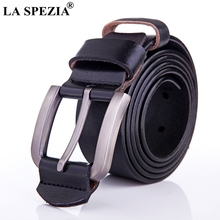 LA SPEZIA Vintage Belt Man Genuine Leather Pin Buckle Belt Men Handemade Solid Black Casual Fashion Brand Male Cow Leather Belt belt male casino cas12 fact black black