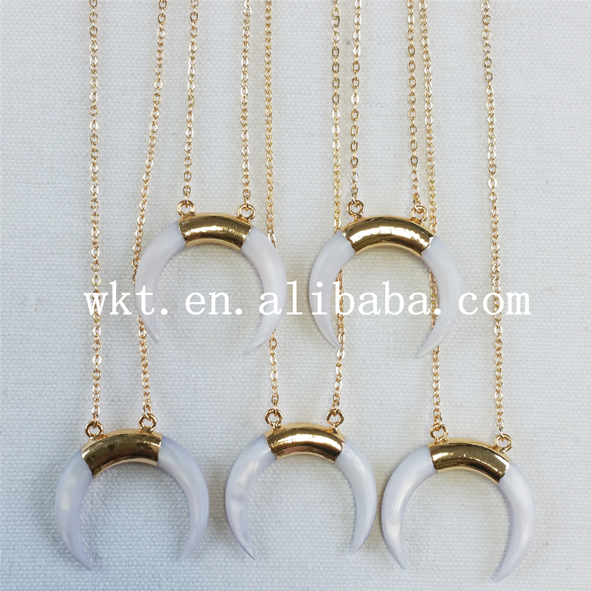 WT N638 New sale Mother of Pearl crescent horn pendant necklace white double hoops 24k gold
