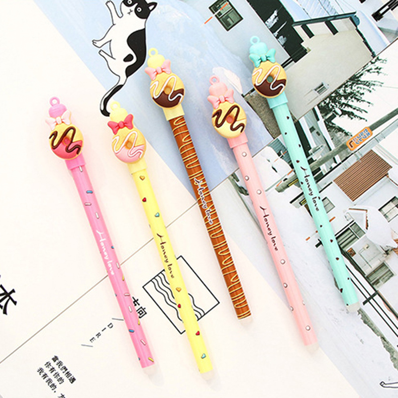 1 Pcs Kawaii Chocolate Donut Bow Erasable Gel Pen 0.5mm Tip Blue Refill Magic Pens Student Stationery Writing Pen Wholesale