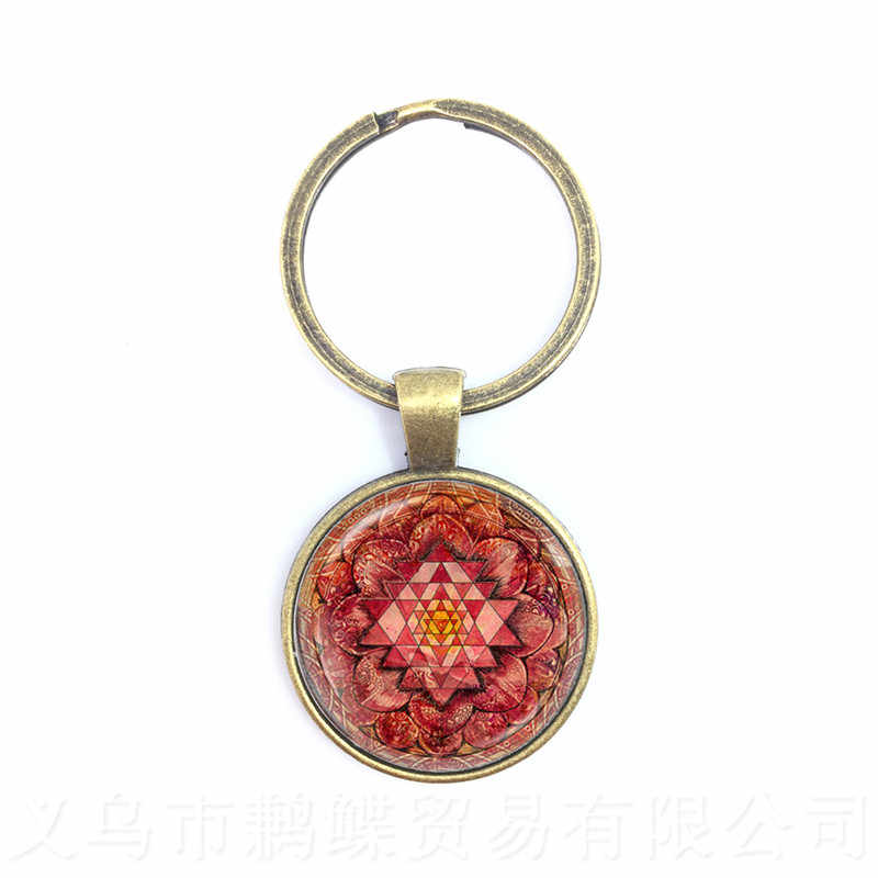 2018 New Red Mandala Key Chains Neo-Gothic Glass Dome Sacred Geometry Jewelry For Men Women Flower of Life Keyring