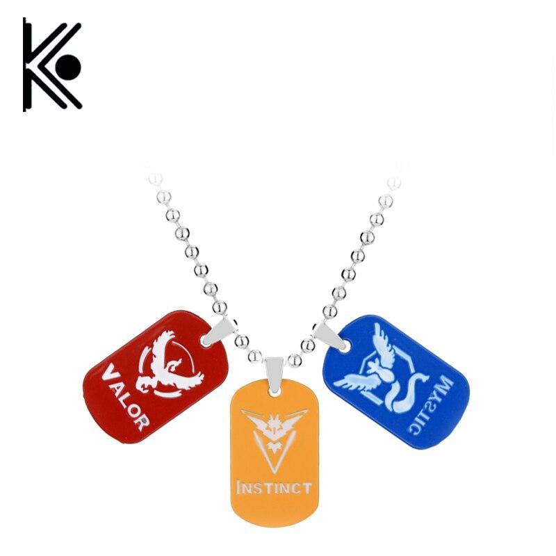 Game Jewelry Pokemon Go Necklace Fashion zinc alloy Team ripasa Valor Mystic Dog tag 3 Logo Bead Chain For Gift