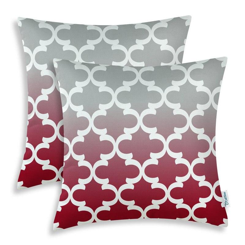 2PCS Square CaliTime Cushion Cover Pillows Shell Gradient Quatrefoil Accent Geometric Burgundy Gray 18 X 18(45cm X 45cm)