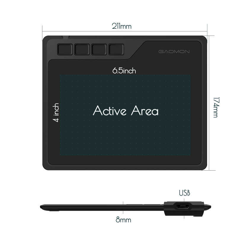 GAOMON S620 6 5 x 4 Inches Digital Pen Tablet Anime Graphic Tablet for  Drawing &Playing OSU with 8192 Levels Battery-Free Pen