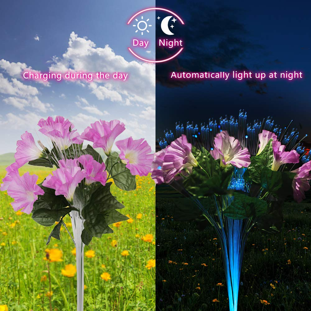 Outdoor LED Solar Stake Lights 2Pack Morning Glory Solar Powered LED Color Changing Stake Lights  Flower Lights For Garden Yard