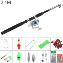 2.4m Fishing Rod Reel Line Combo Full Kits 3000 Series Spinning Pole Set with Lures Float Hooks Beads Bell Lead Weight Etc