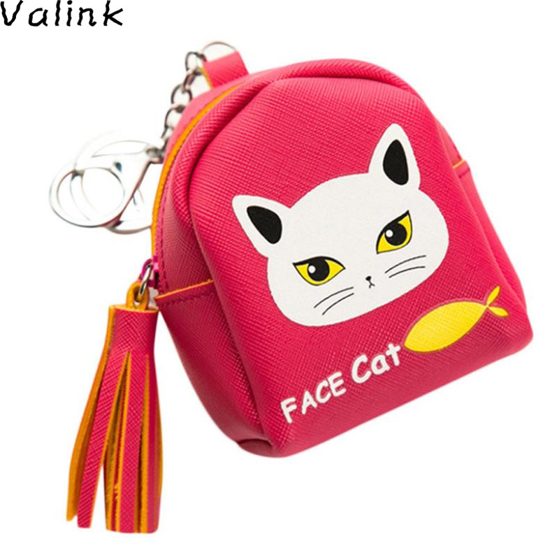 купить Valink 2017 Women Snacks Coin Purse Cat Priting Small Wallet Bag Change Pouch Key Holder Coin Purses Monederos Bolsa Feminina недорого