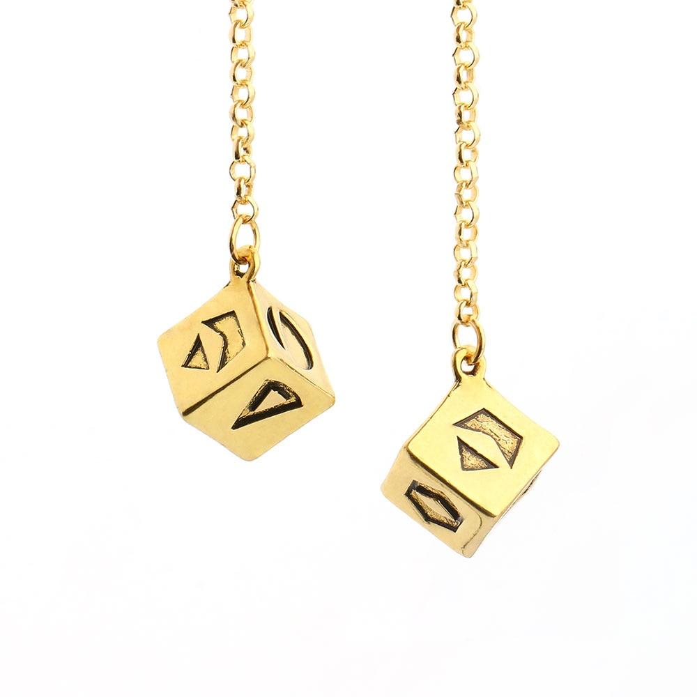 Novo grande ouro antigo cor pulseira han solo sorte dice prop, 1.25 cm dados com link corrente pulseira guerras espelho do carro jóias