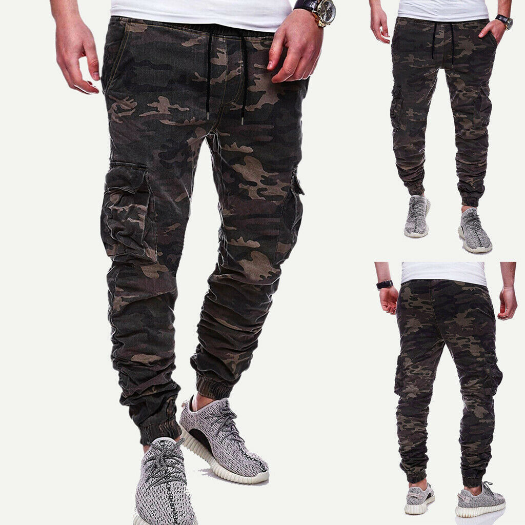 2019 Hot Men Elasticated Waist Cargo Combat Trousers Jogger Work Bottoms Long Pants Camouflage Pants Dropshipping