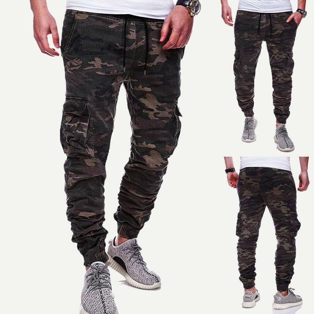 Mens Denim Combat Cargo Stretch Jeans Elasticated Work Wear Chino Pants Bottom