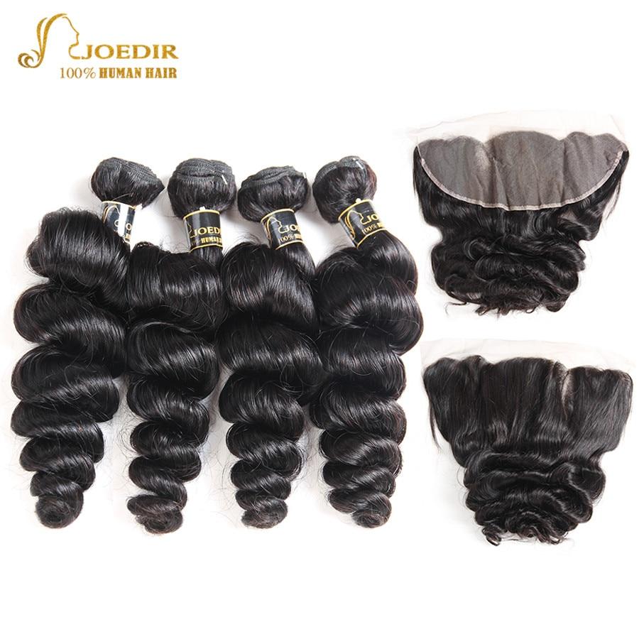 Joedir Hair Pre Colored Human Hair Bundles Brazilian Loose Wave Bundles With Frontal Closure 4 Bundles With Frontal Non Remy